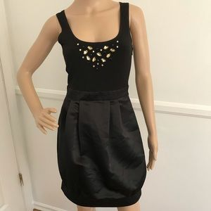 BCBG black jeweled cocktail dress with pockets